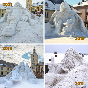 According to tradition, the square in Jilemnice is decorated with a large Krakonoš made of snow.